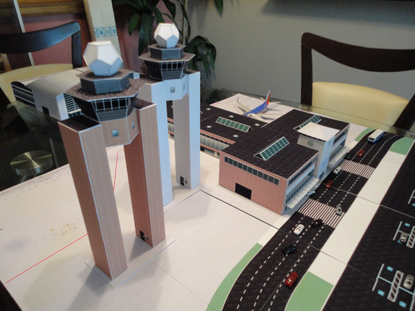 1:200 scale model airport dual control-towers