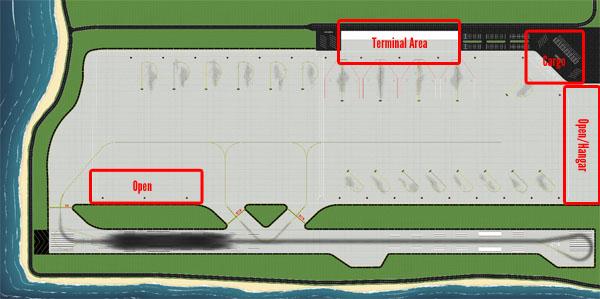 1 500 Model Airport Tropical Single Runway Foils Airport