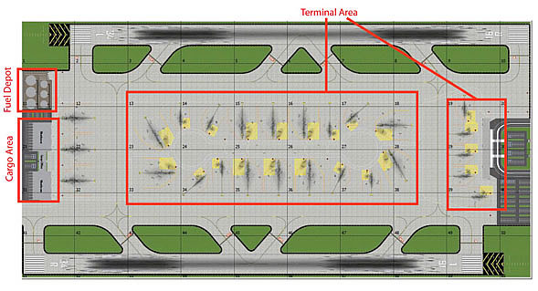 1:500 Double Runway #1 Model Airport Layout
